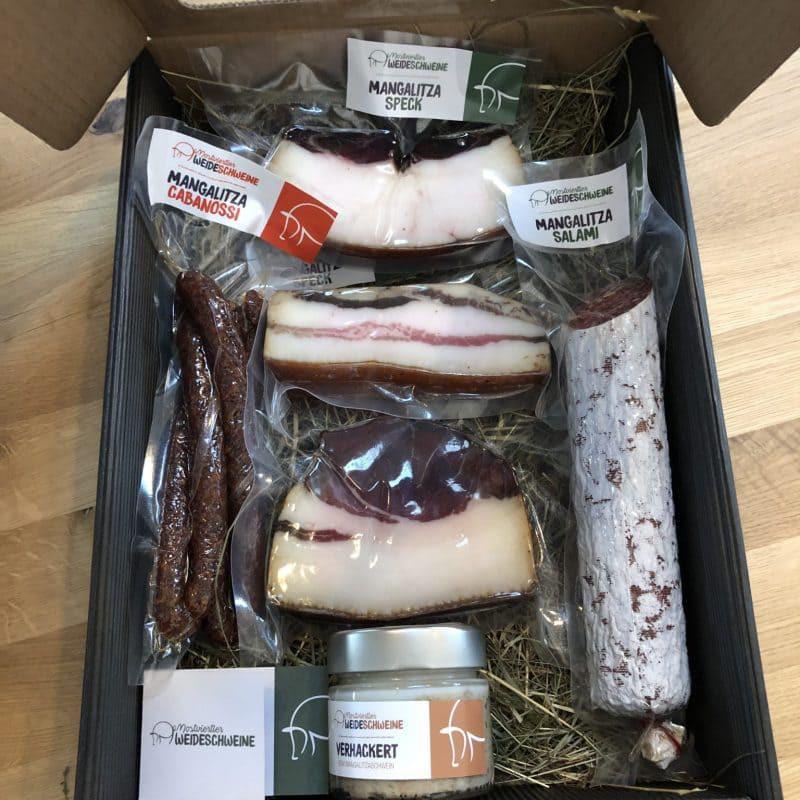 Mangalitza-Gourmetspeck und -würste - Geschenkspaket groß